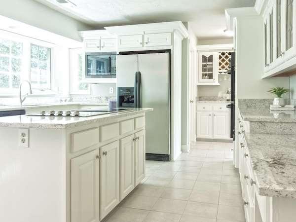 white and granite kitchen