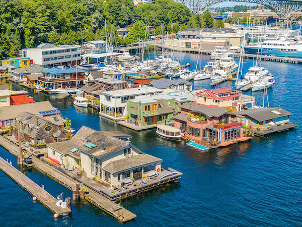 aerial view of Seattle floating homes