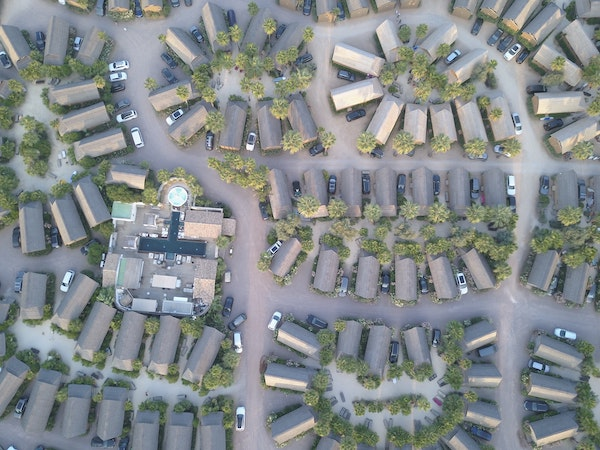 Aerial view of a planned community complex